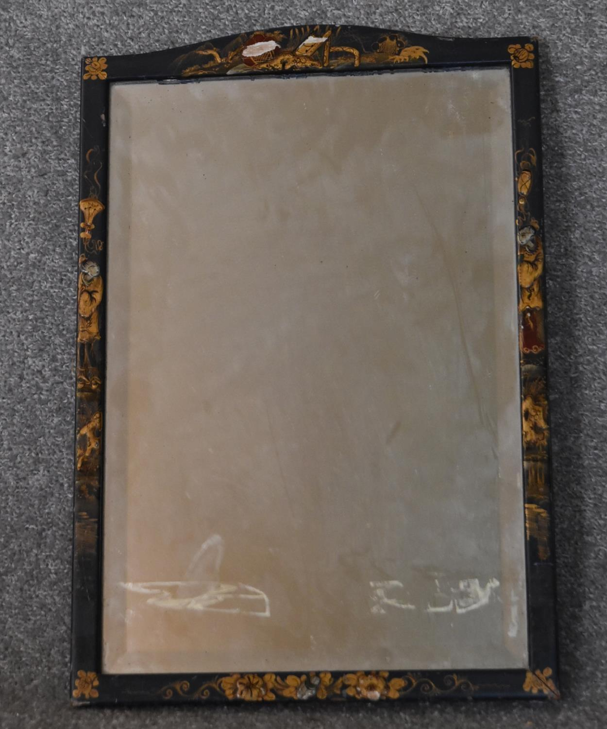A Georgian mahogany and satinwood inlaid wall mirror and a Chinoiserie lacquered easel dressing - Image 4 of 6