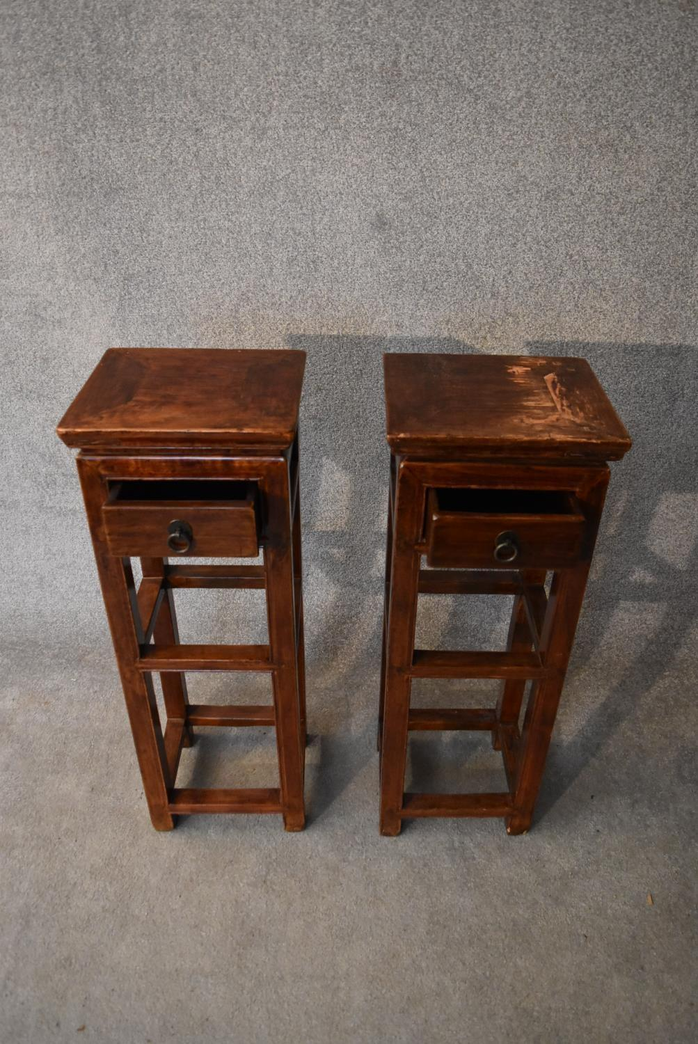 A pair of Chinese hardwood urn stands fitted frieze drawers. H.86x32cm - Image 3 of 4