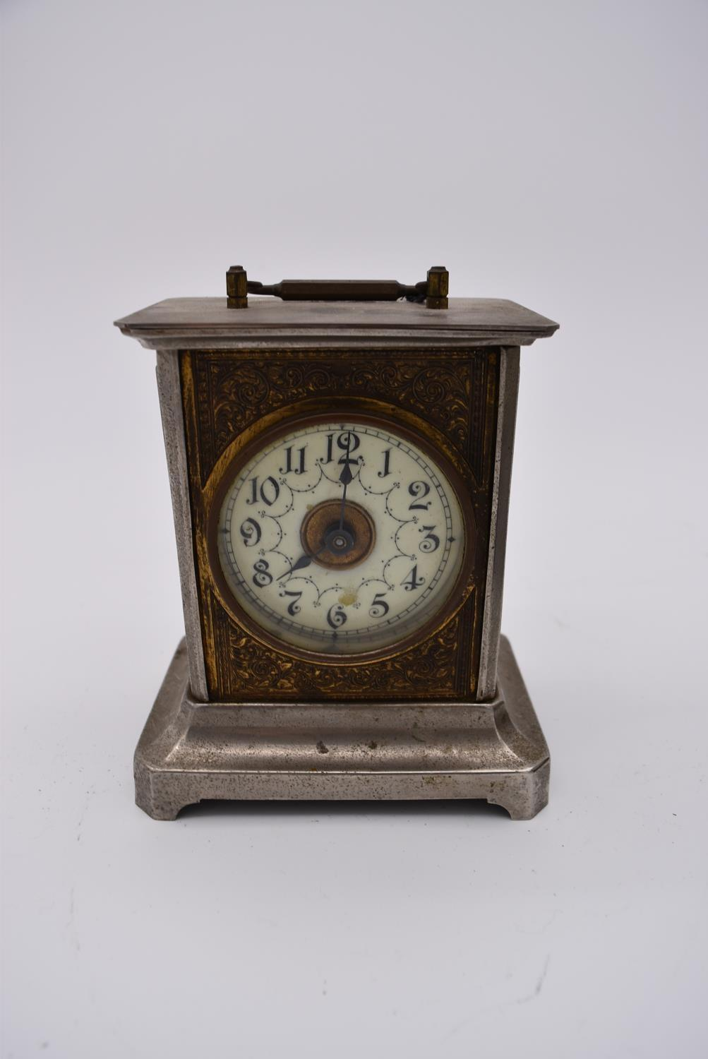 A brass cased carriage clock with engraved brass front with scrolling design and white enamel dial - Image 2 of 8