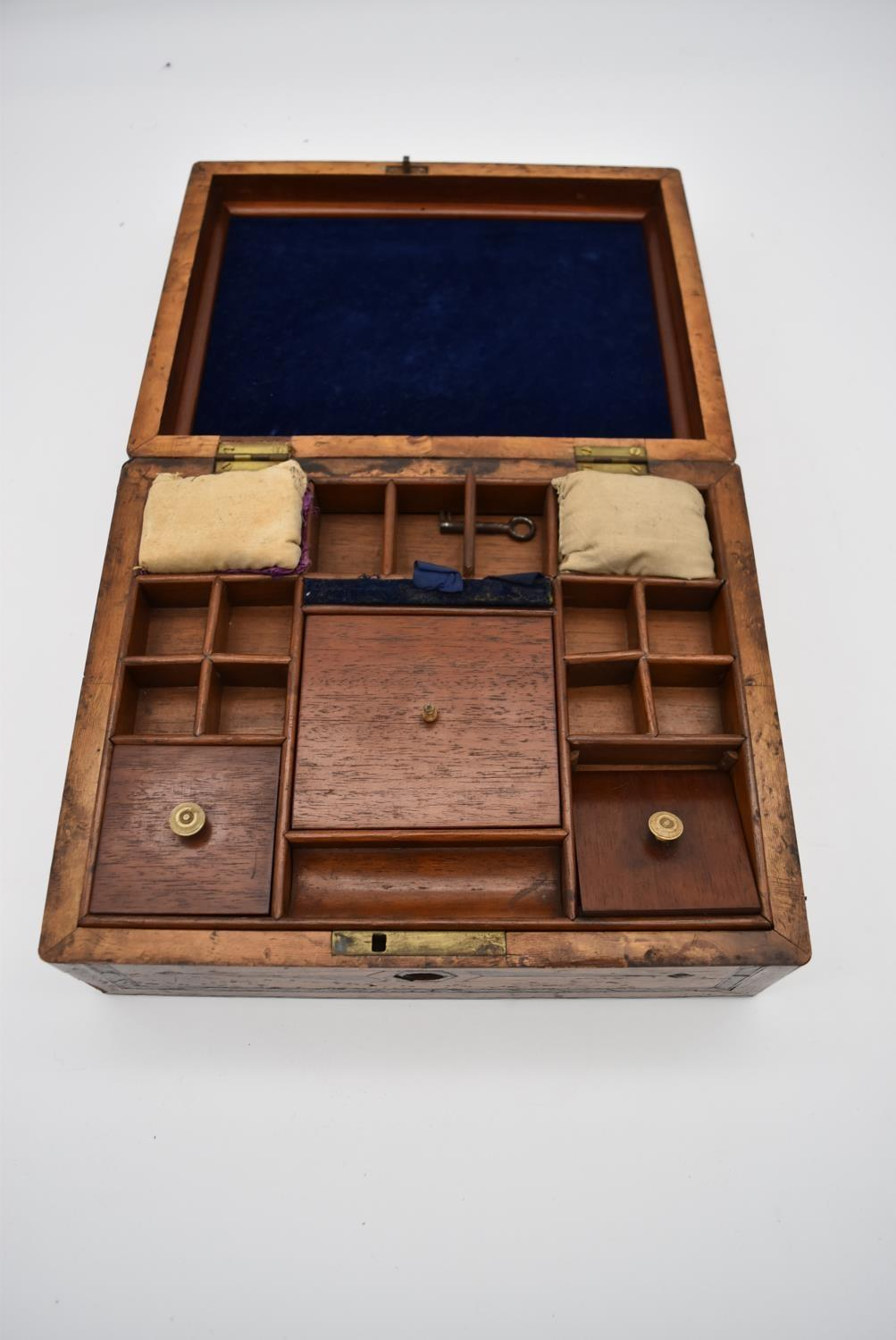 A 19th century yew, bird's eye maple, ebony and satinwood inlaid jewellery box and a 19th century - Image 3 of 4