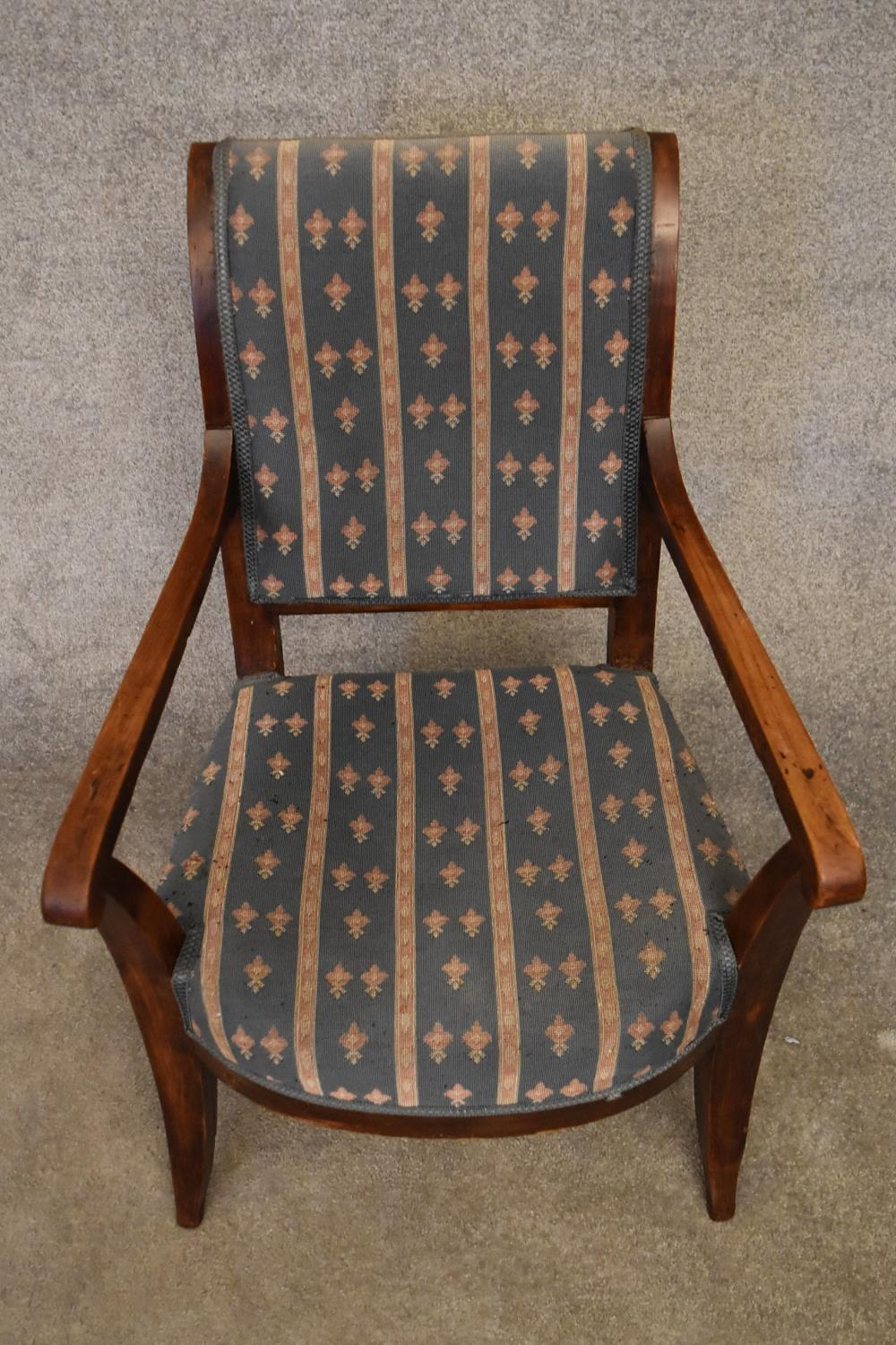 A Continental elm framed Empire style armchair. H.90x55cm - Image 2 of 3