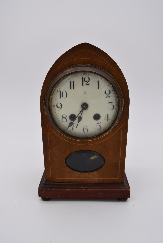 An Edwardian mahogany and satinwood inlaid lancet mantel clock and four other Edwardian mantel - Image 2 of 5