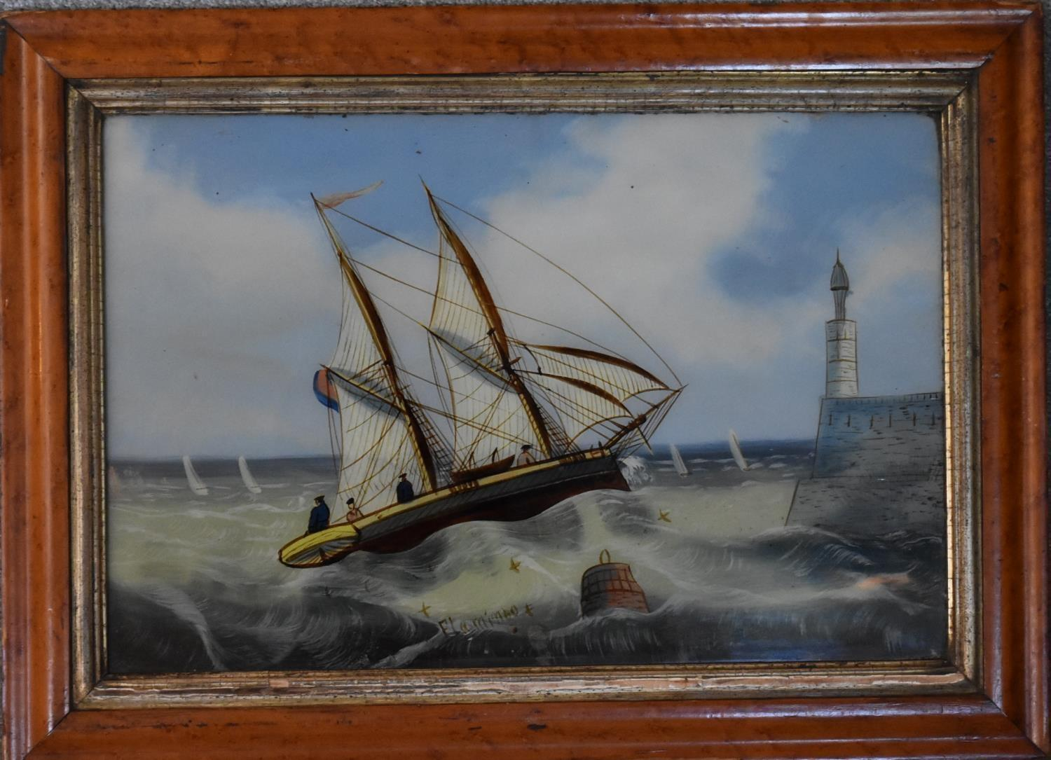 A 19th century gilt framed oil on board, sheep herder and a 19th century painting on glass, - Image 2 of 4