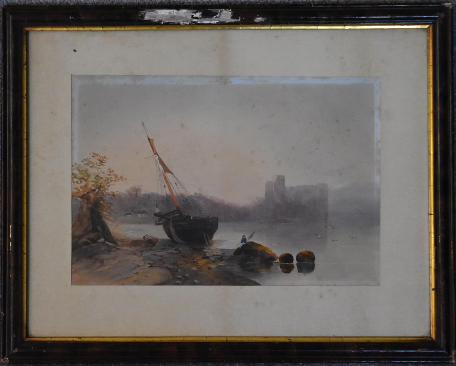 A 19th century gilt framed and glazed watercolour, Whitby Bay, two other framed and glazed - Image 5 of 8