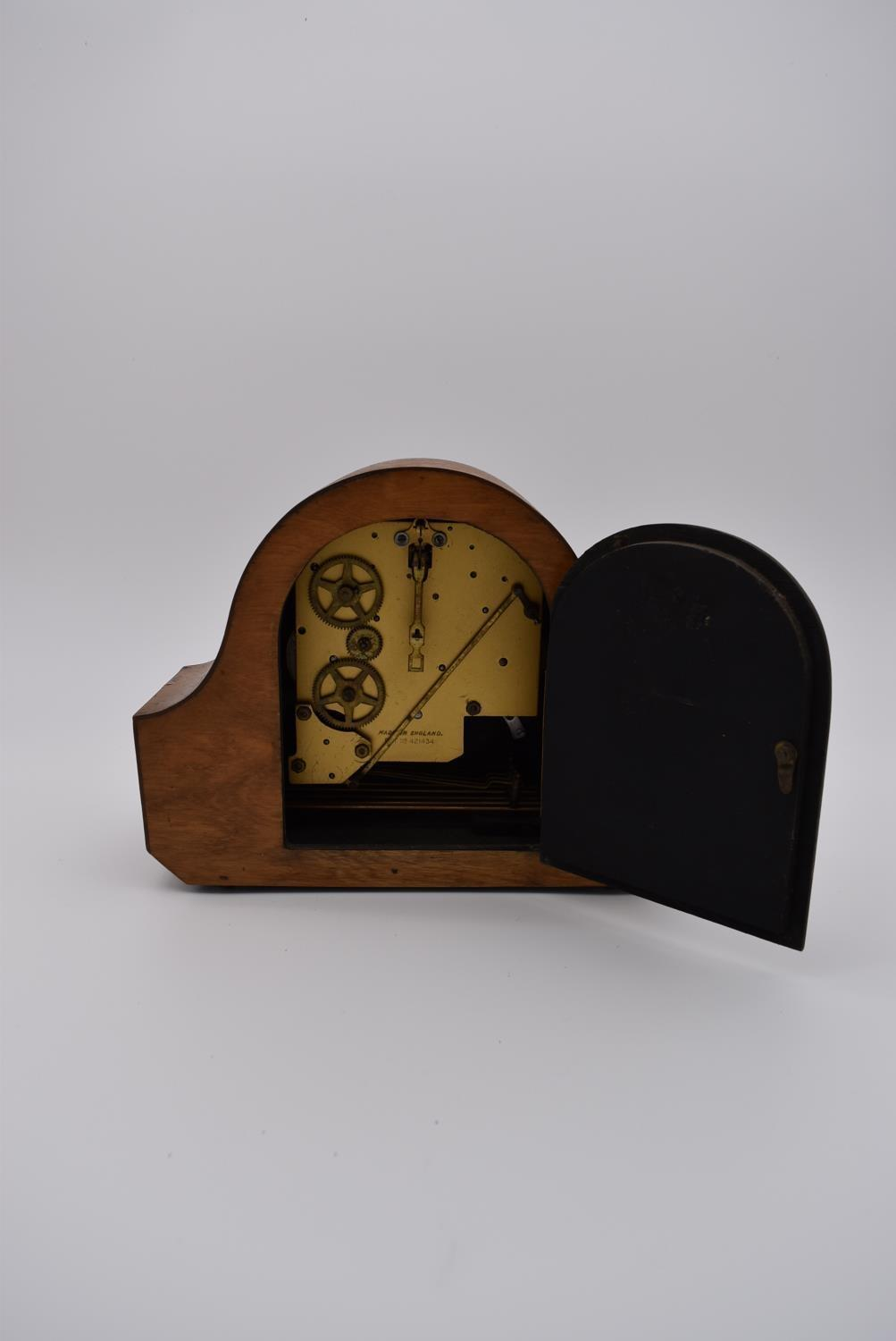 A collection of five mid 20th century mantel clocks with English brass movements. Some have roman - Image 7 of 8