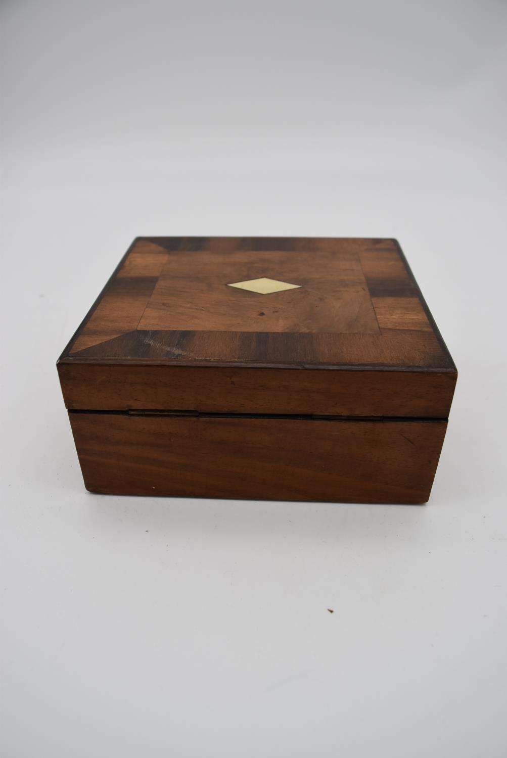 A 19th century burr walnut and crossbanded jewellery box snd two other 19th century Tunbridgeware - Image 4 of 4