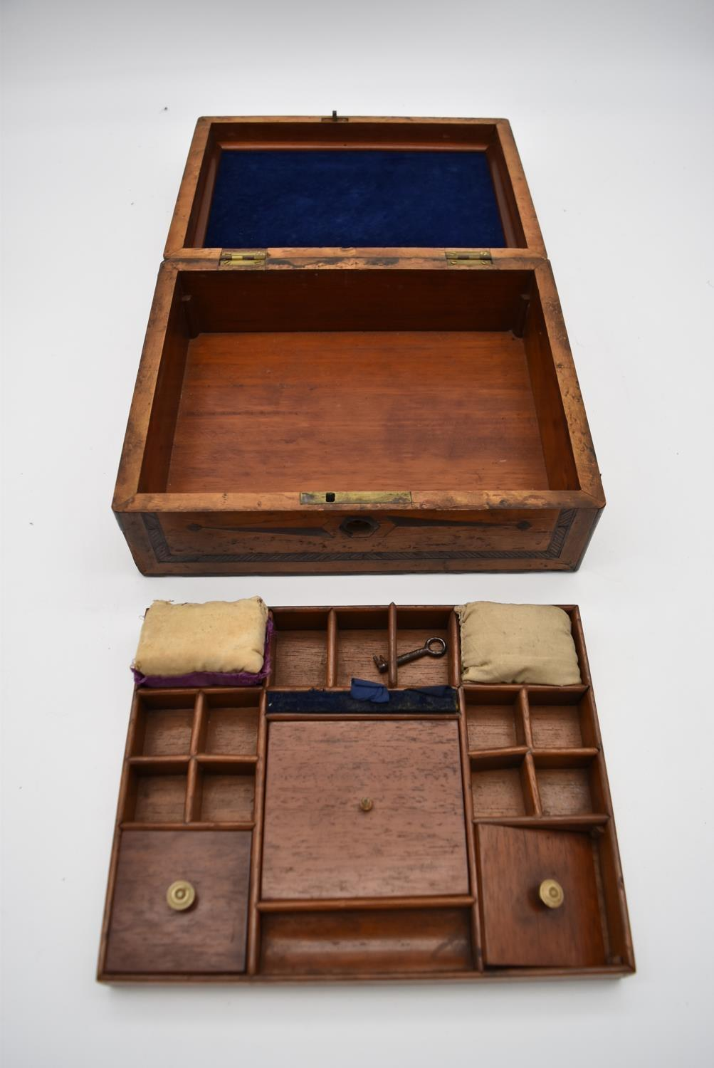 A 19th century yew, bird's eye maple, ebony and satinwood inlaid jewellery box and a 19th century - Image 4 of 4