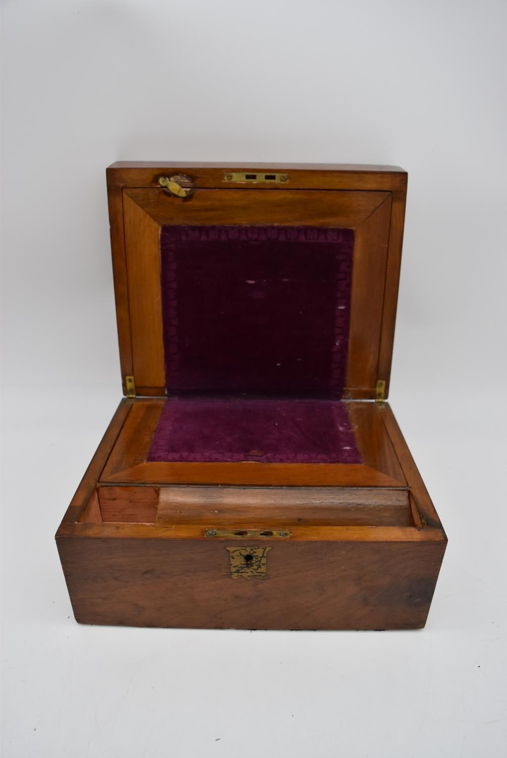 A 19th century walnut fitted box and two other similar boxes. H.14x28cm - Image 8 of 12