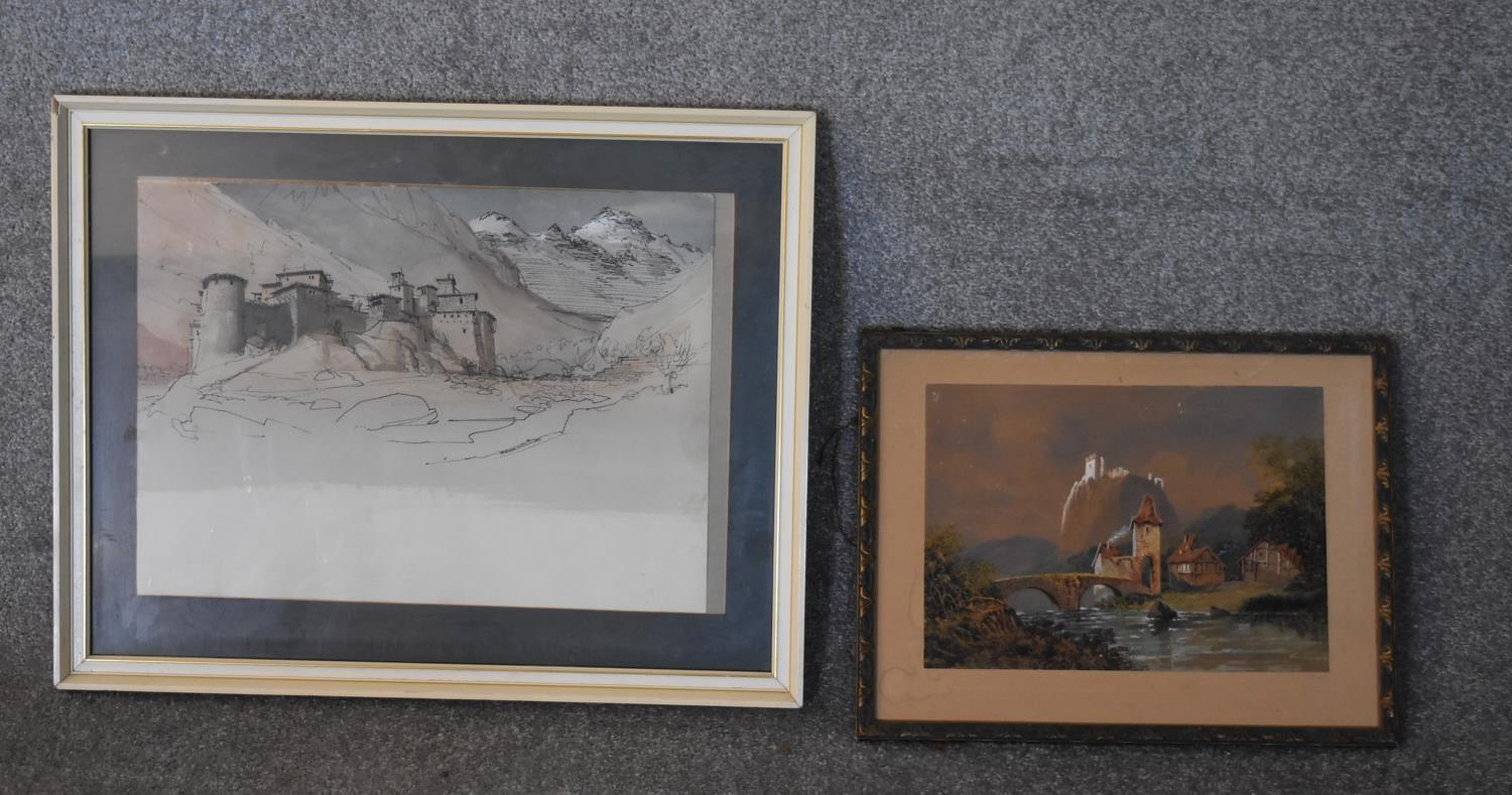A framed and glazed watercolour and ink drawing, alpine citadel and a similar unframed