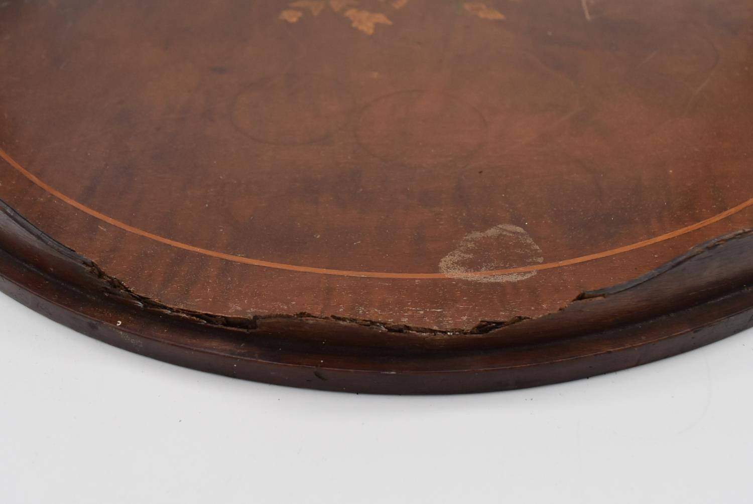 A late 19th century mahogany and satinwood inlaid twin handled tray and two other similar trays. L. - Image 7 of 9