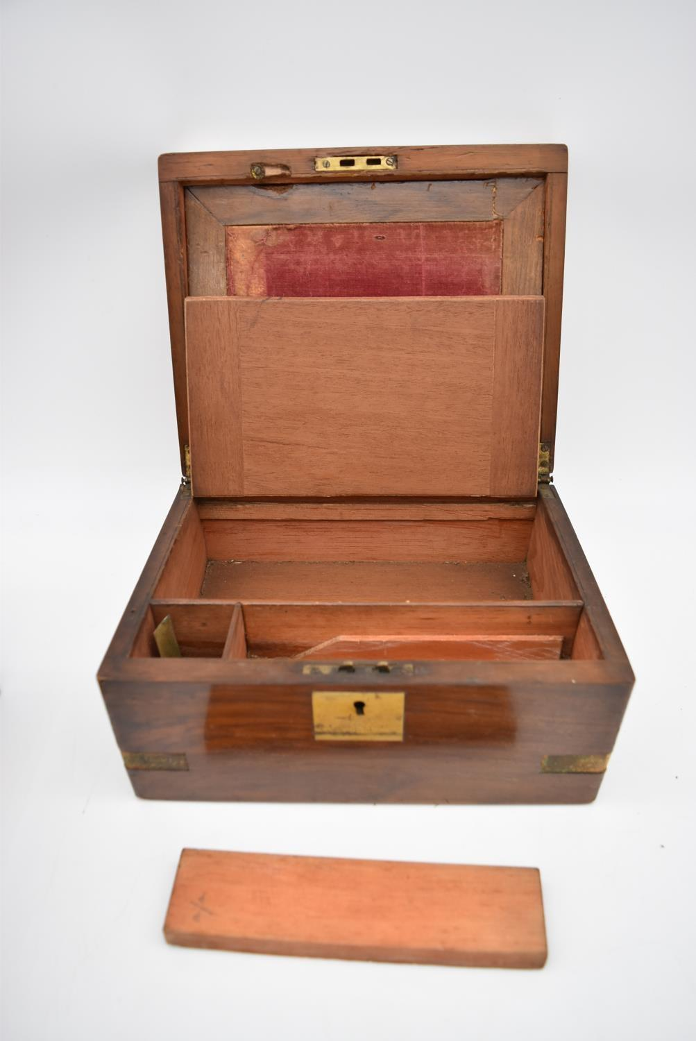 A 19th century brass bound walnut writing slope and two other similar boxes. H.15x35cm - Image 11 of 15