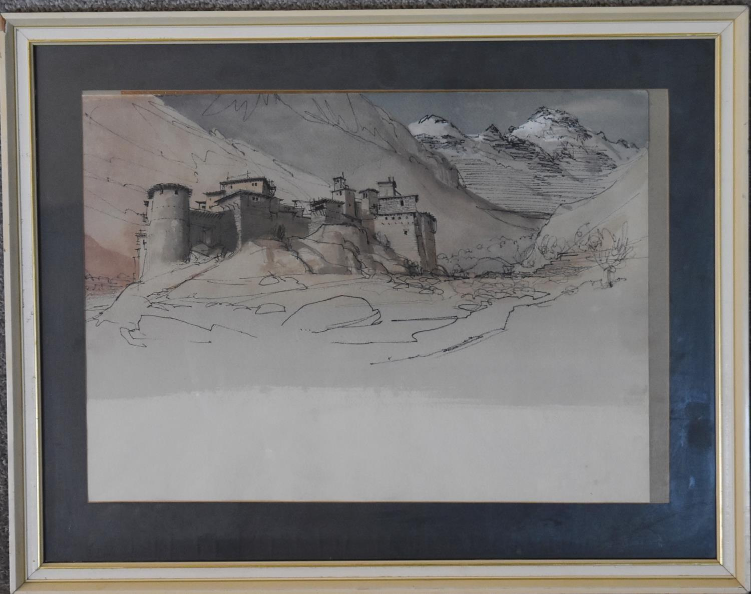 A framed and glazed watercolour and ink drawing, alpine citadel and a similar unframed - Image 2 of 6
