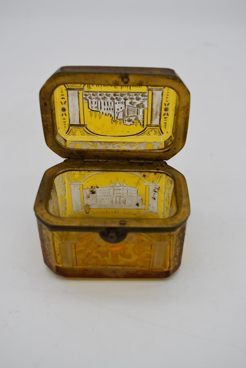A small 19th century engraved amber glass and ormolu mounted box. H.7x8cm - Image 4 of 4