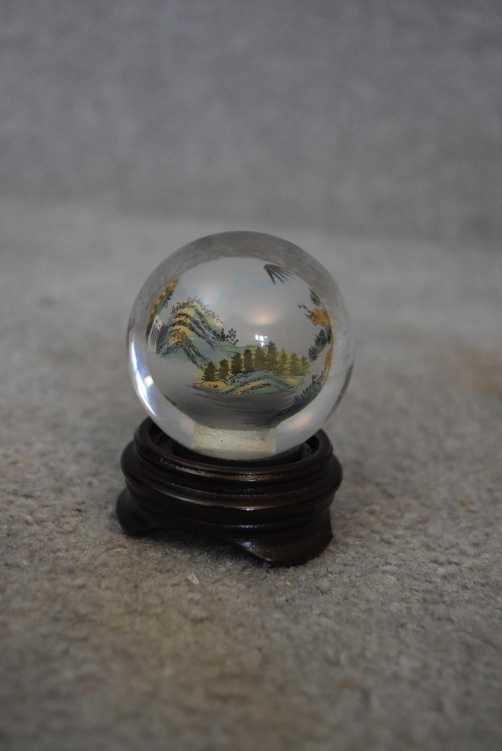 Two Japanese reverse painted globes with Japanese mountains and landscapes, a Japanese reverse - Image 5 of 5