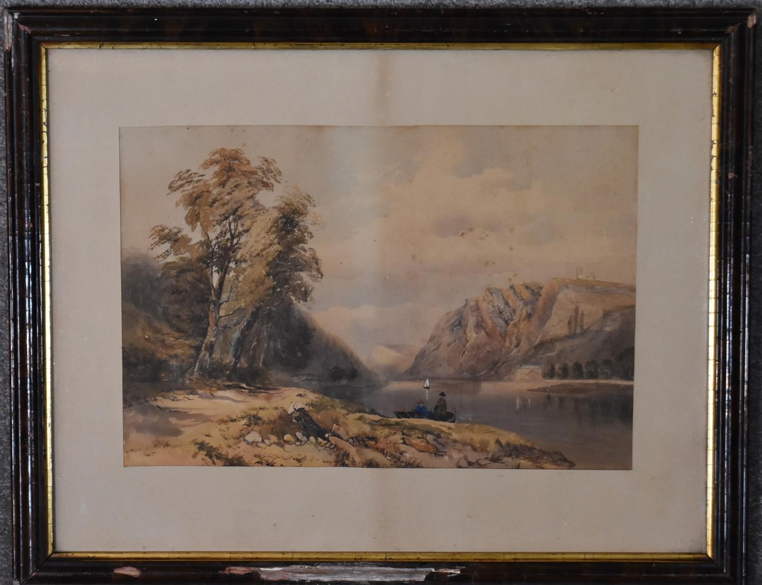 A framed and glazed watercolour of a rocky beach scene and two other framed and glazed watercolours. - Image 3 of 6