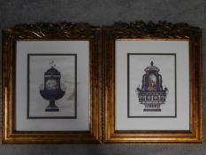 A pair of glazed prints in carved gilt frames, classical style urns. 80x66cm
