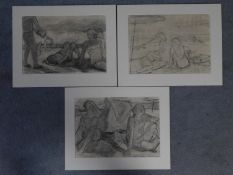 Three unframed charcoal sketches of beach scenes. 52x40cm