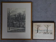 A framed and glazed pencil sketch of church grounds, indistinctly signed. Together with a framed and