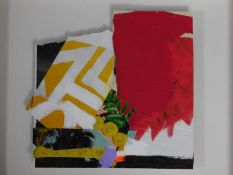 A framed and glazed collage, signed verso, titled 'Colour Study', 2015. 28x23cm