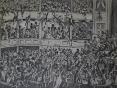 A framed and glazed lithograph titled 'A view of the shocking confusion at Saddlers Wells' published
