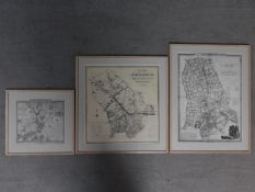 Three framed and glazed antique maps of Islington, London. 73x56cm