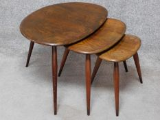 A burr elm Ercol nest of three graduating tables. H.49 W.65 D.44cm