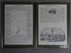 Two framed and glazed antique newspaper pages reporting on Islington, London. 67x48cm