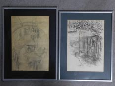 Two framed and glazed pencil sketches titled 'American Hotel' and the other 'Littlebourne', both