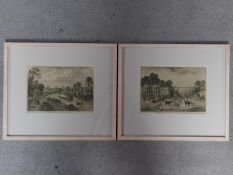 Two framed and glazed coloured lithographs, one titled 'Highgate Archway Gate and Tavern in 1825'