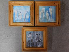 Three framed oils on board, titled 'Chance Gang', 'Blue Room' and 'Hot Wash', all by British painter