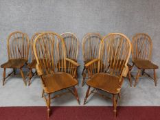 A set of eight vintage Continental Windsor style dining chairs, including two armchairs. H.110cm