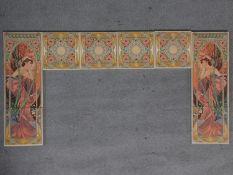 A complete set of ten ceramic Art Nouveau Fireplace Tiles by Alphonse Mucha. Depicting two ladies