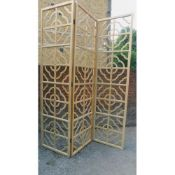 A large oriental style hardwood three panel screen or room divider with pierced decoration H.280cm