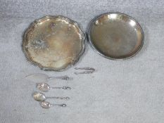 A collection of silver and silver plate items. Including a silver plate serving tray and floral