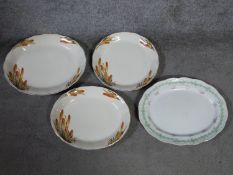 """Three vintage W.H. Grindley & Co. cream serving platters with """"Fire Poker"""" design and a Powell"""