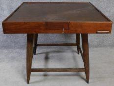 A Chinese hardwood Mah-jong gaming table. H.78 L.96 W.96cm