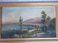 A giltwood framed 19th century oil on canvas of an Italian port City with figures on a bridge.