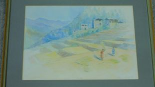 A framed and glazed watercolour by artist John Burton, titled 'Punakha Bhutan'. Signed and dated.
