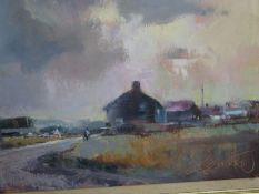 A framed oil on canvas of a road scene in South Wales.