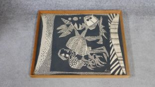 A framed and glazed screen print by Austro-Nigeria artist Chief Susanne Wenger MFR, also known as