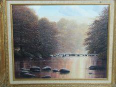 A gilt carved wood framed oil on canvas river landscape by British artist D J Lawrence. Titled' Tarn