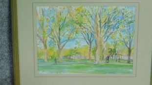 A framed and glazed watercolour of Highbury field by a British painter Anne Usborne. Signed by