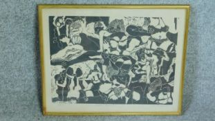 A framed and glazed signed screen print by African artist Louis Mwaniki, titled 'Night Games'.