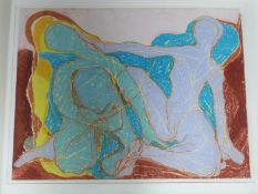 A framed and glazed abstract pastel on paper of two seated figures. Unsigned. 79x99