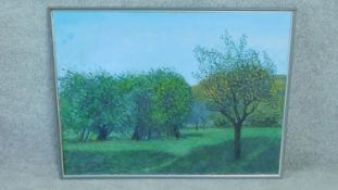 A framed oil on canvas by Italian artist Francesco Colacicchi, titled 'Evening Light',1996. Signed