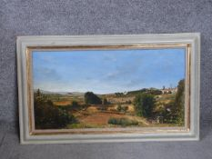 A framed oil on canvas by Cyppo Streatfield. Titled 'San Gimigniano', The Evening Light, Tuscany,
