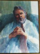 A framed and glazed watercolour portrait of hostage and Author Terry Waite. Unsigned. 61x77