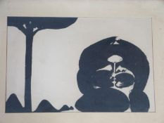 A framed and glazed indian Sheikh screen print. Unsigned. 69.5x50.5cm.