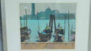 A framed and glazed oil on board by British artist Neil Murison RWA, titled 'Gondolas + St