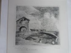 A framed and glazed signed aquatint by British artist Peter Freeth RA (b. 1938). Titled 'Oxcart on a